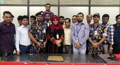 শাহজালাল আন্তর্জাতিক বিমানবন্দরে তল্লাশিকালে ৭৬টি স্বর্ণের বার জব্দ